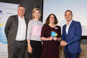 Lendlease's Kristy Lansdown and Cllr Cryan accepting the award