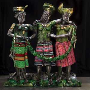 Sculpture, titled Europe Supported by Africa and America